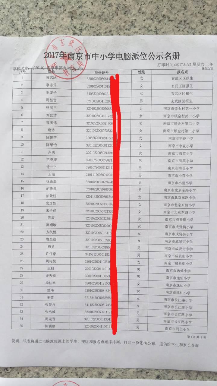 2017南京市第九中学电脑派位名单1