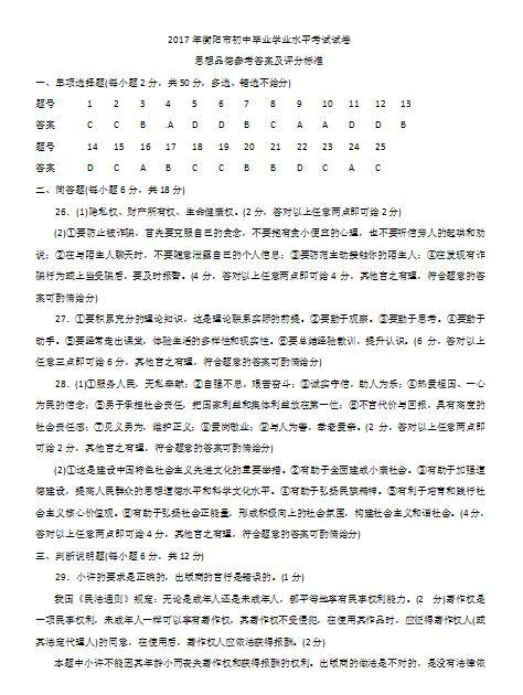 2017年湖南衡阳政治中考答案图1