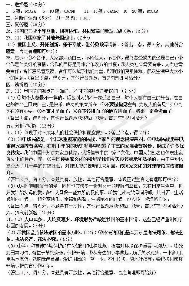 2017年湖南怀化政治中考答案图1
