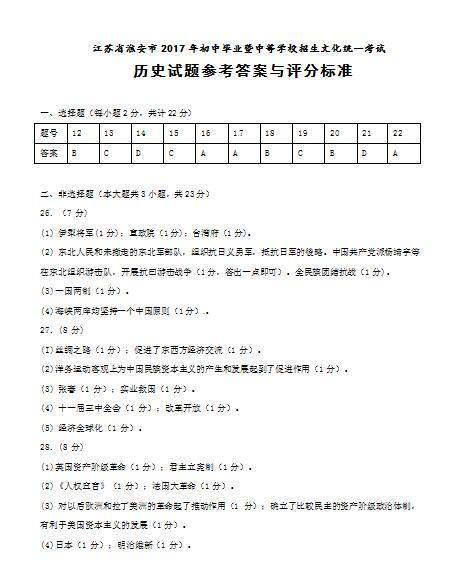 2017年江苏淮安历史中考答案图1