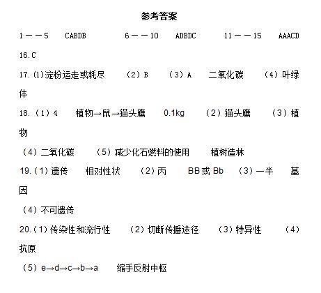 2017年四川内江生物中考答案图1