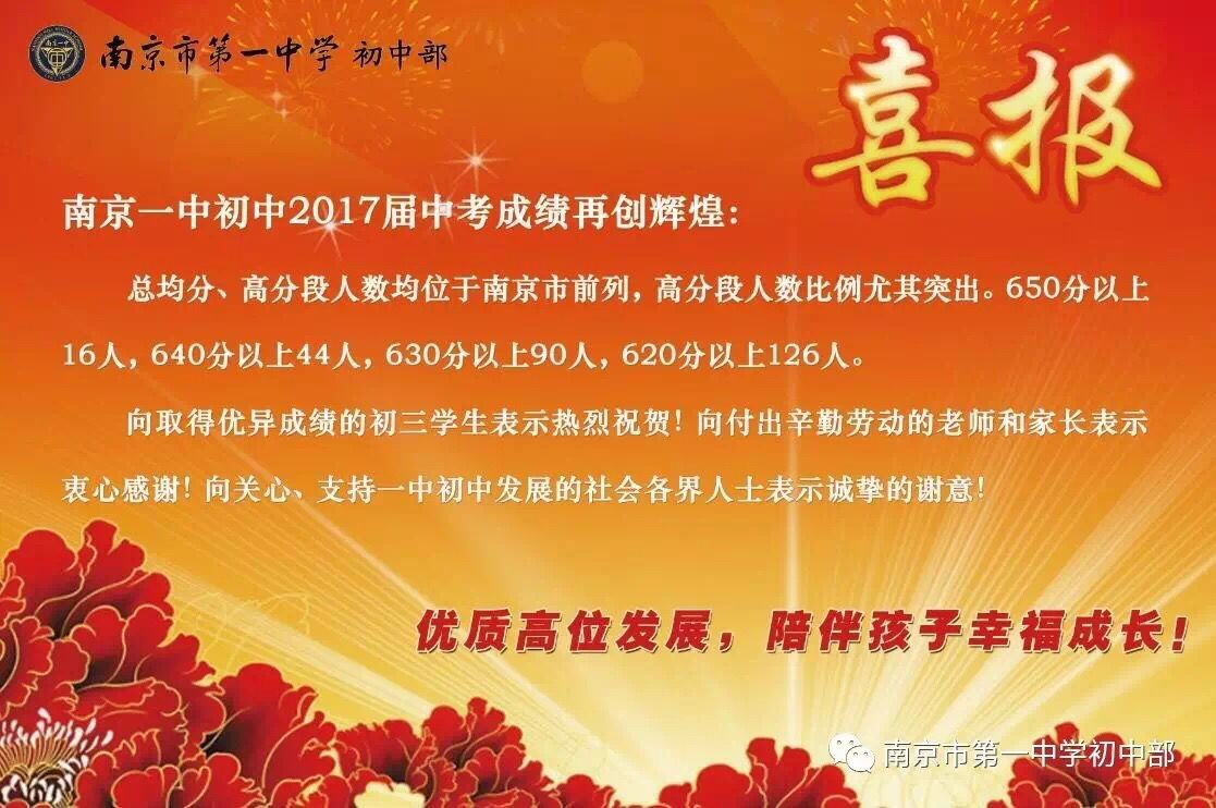 2017南京一中初中部中考喜报