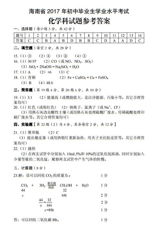 2017年海南三亚中考化学答案图1