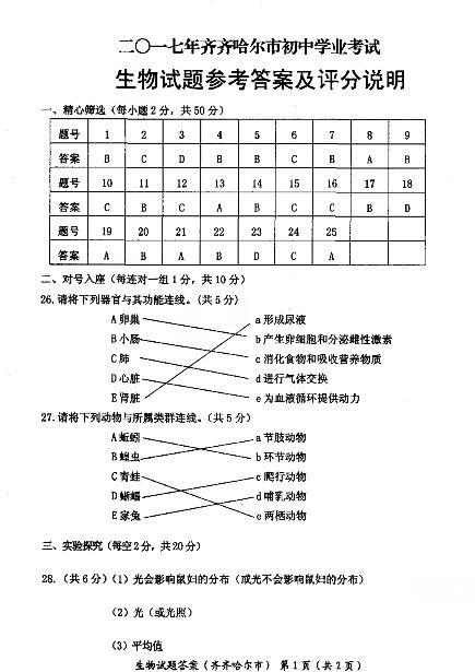 2017年黑龙江齐齐哈尔生物中考答案图1