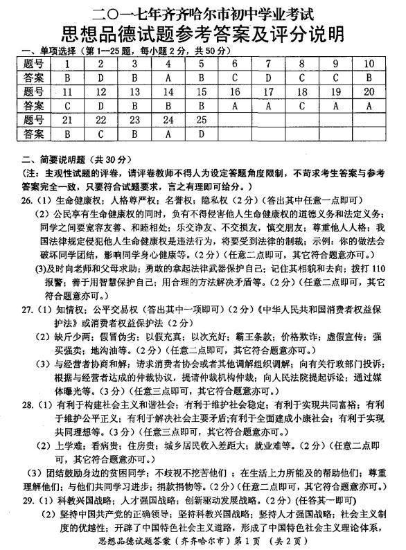 2017年黑龙江齐齐哈尔政治中考答案图1