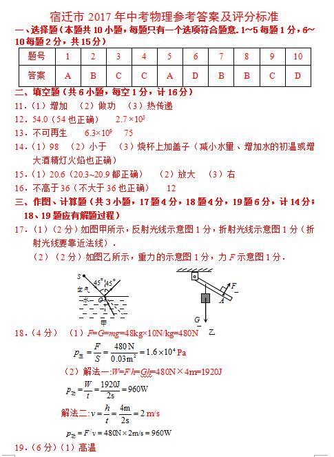2017年江苏宿迁中考物理答案图1