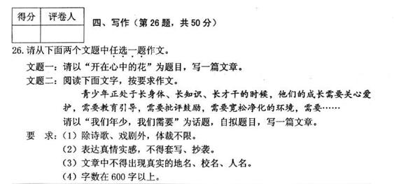 2017年黑龙江省鹤岗市中考作文题目