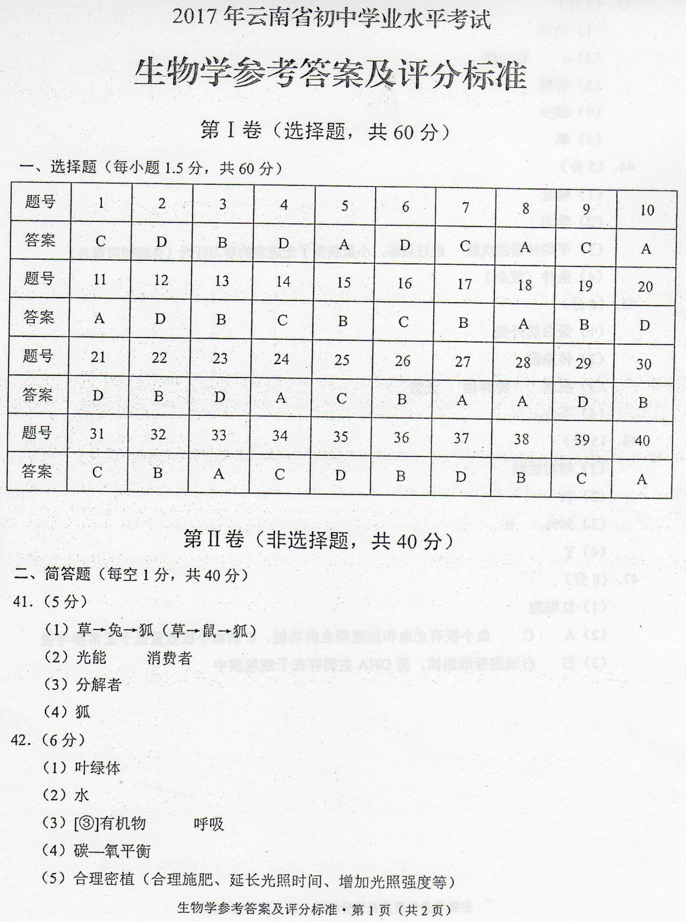 2017年云南临沧生物中考答案图1