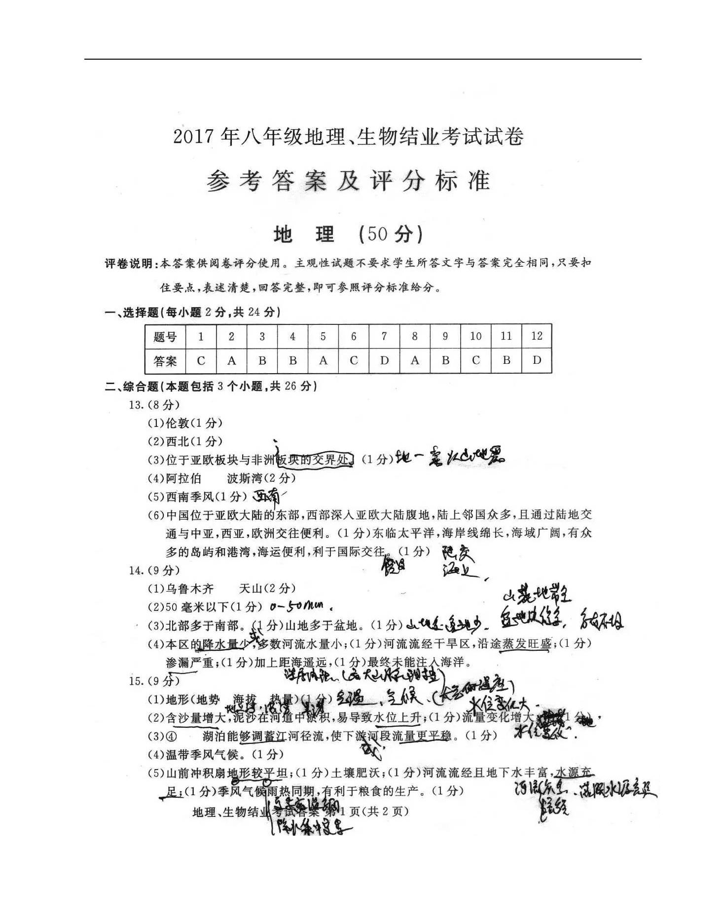 2017年内蒙古包头中考地理真题(图片版)