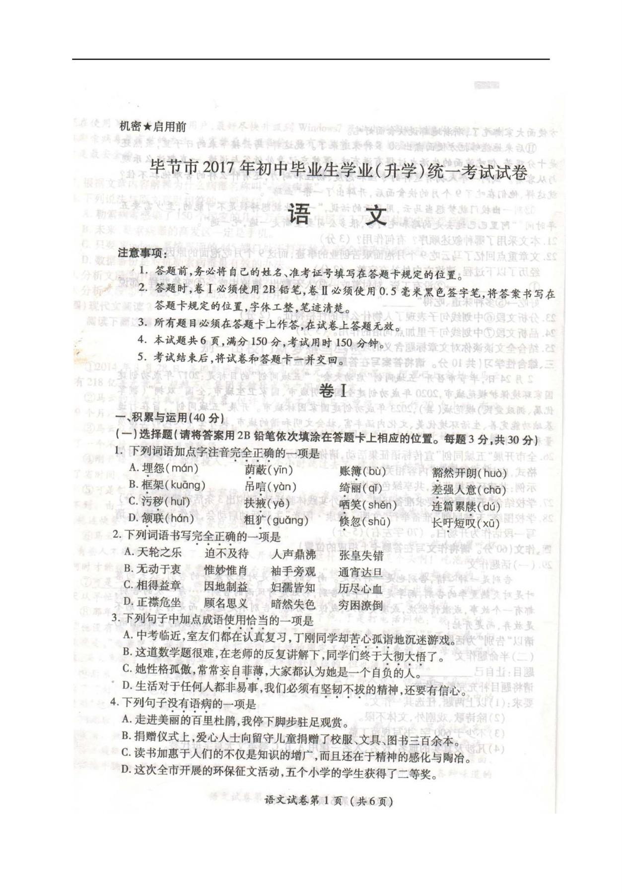 2017年贵州毕节中考语文试卷