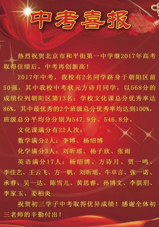2017年北京和平街一中中考喜报公布