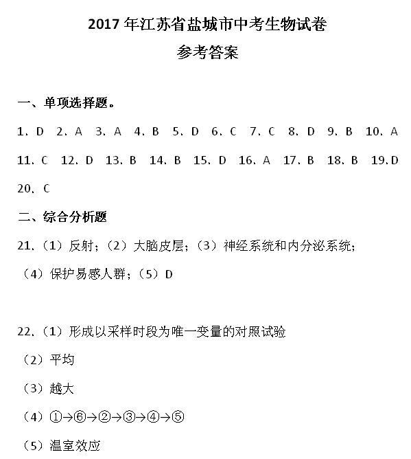 2017年江苏盐城生物中考答案图1