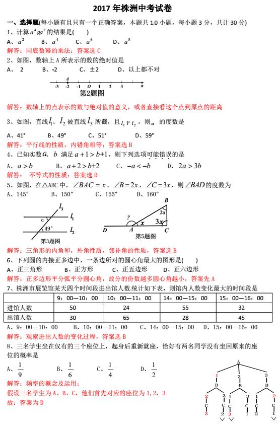 2017年湖南株洲中考数学试题图1