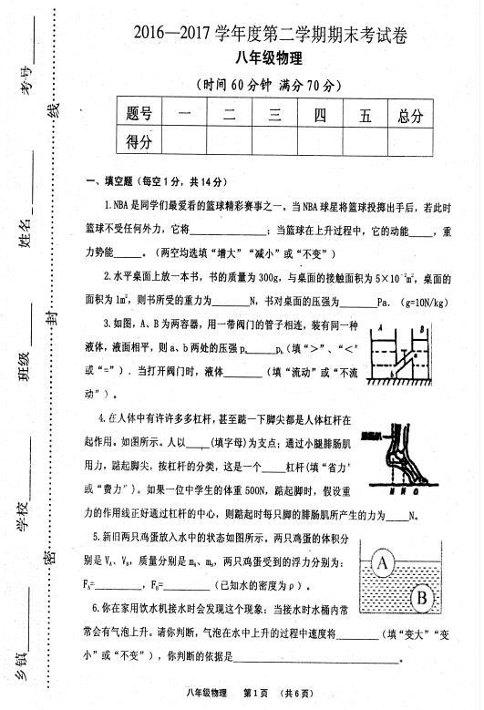 2017河南永城八年级下物理期末试卷1