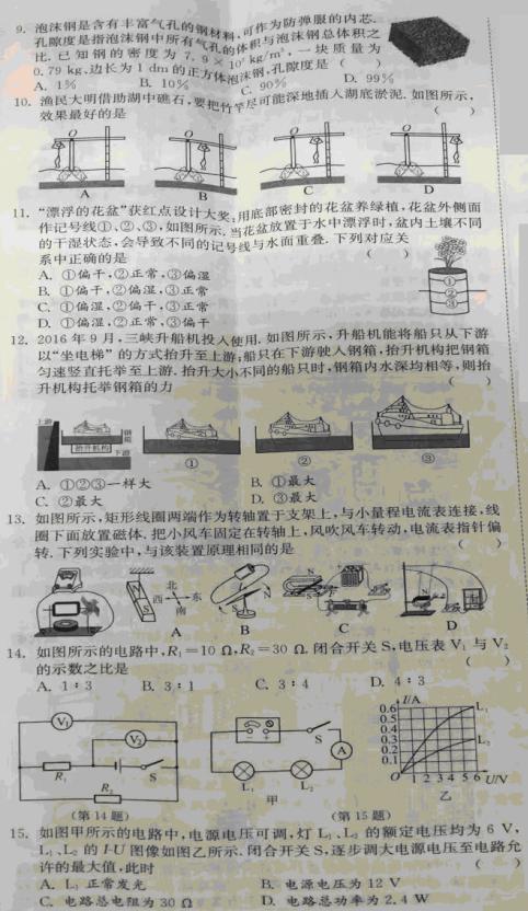 2017年江苏常州中考物理试题(图片版)(2)