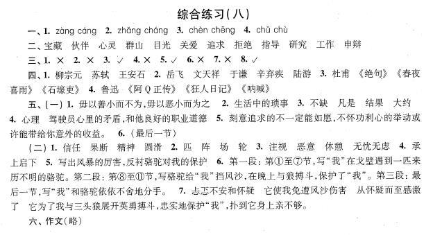 2018年上海小升初考试语文综合练习题八答案
