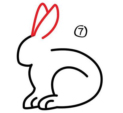 幼儿简笔画步骤图 兔子详细画法 7