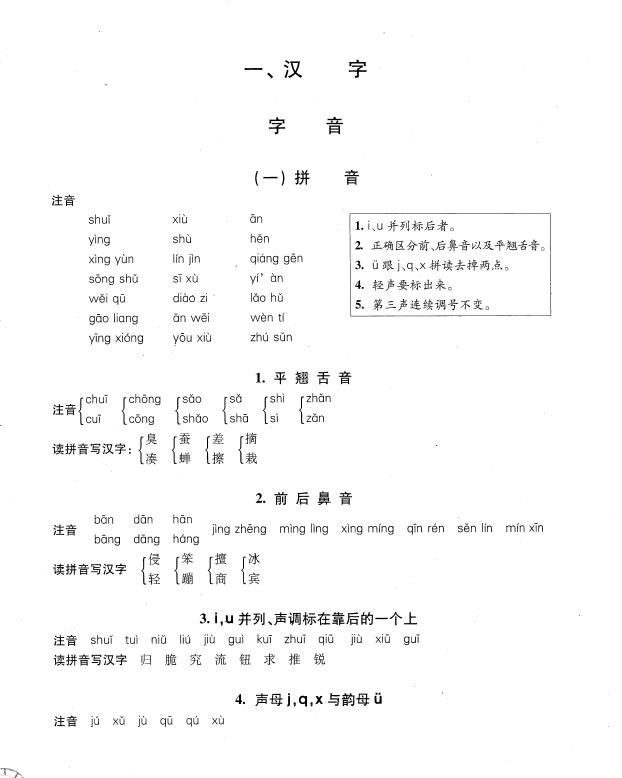 汉字字音知识点及练习题答案1