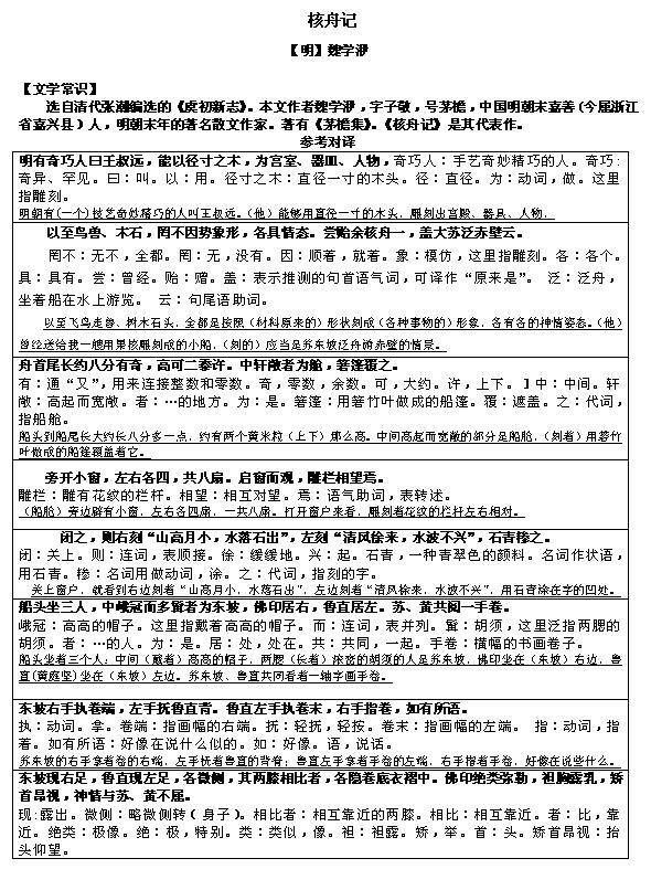 2017文言文对译:《核舟记》1