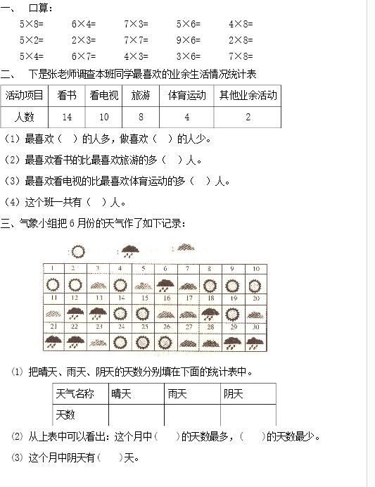 人教版小学二年级数学上册单元试卷12