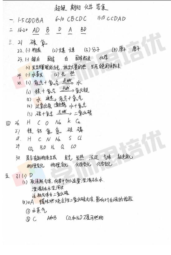 2017年8月青岛超银(鞍山路校区)初三期初考化学试题答案
