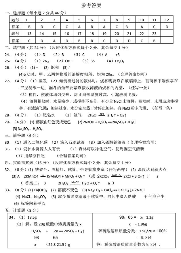 2017年湖南衡阳中考化学试题答案图1