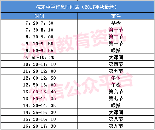 沈东中学作息时间表