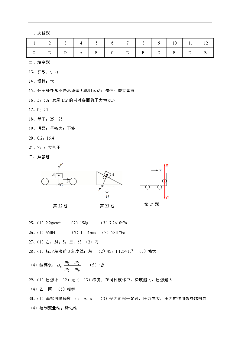 2017江苏泰州高港实验学校八年级5月月考物理试题答案(Word版)