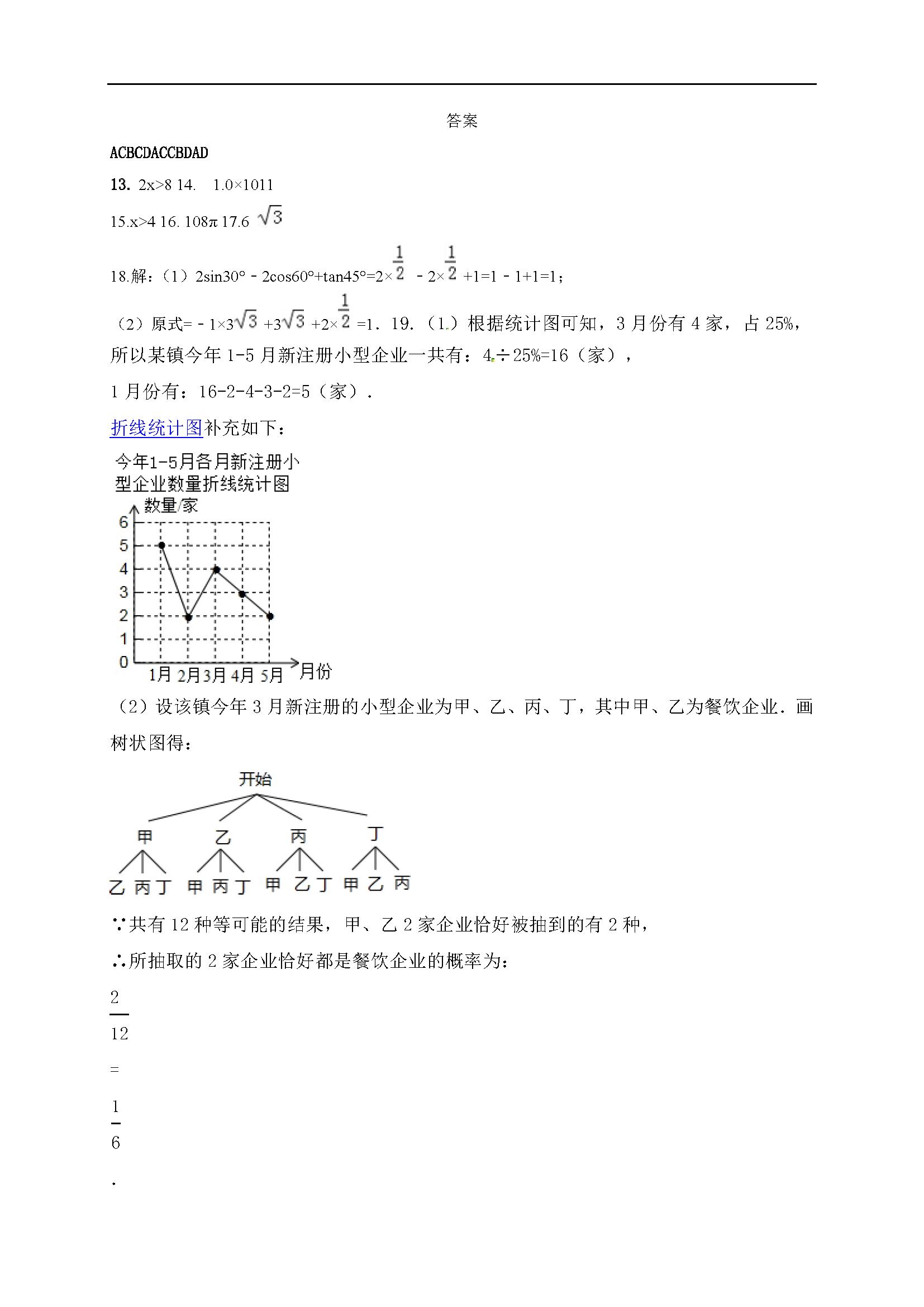 2017届山东乐陵九年级下第一次练兵数学试题答案(图片版)