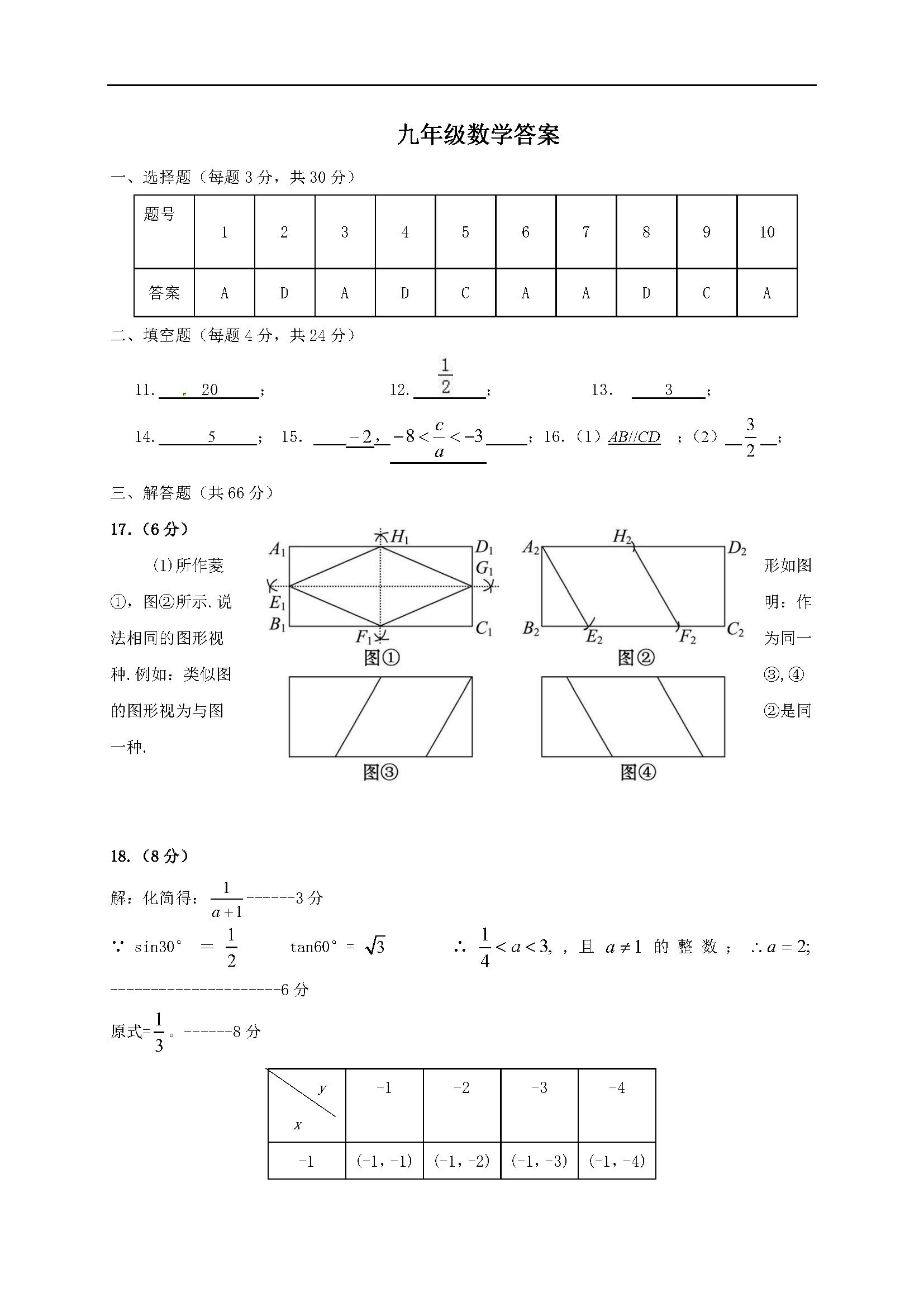 2017届浙江杭州萧山区瓜沥片九年级3月模拟数学试题答案(Word版)
