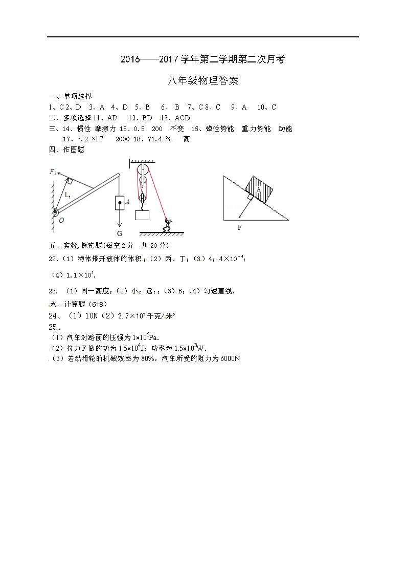 山东聊城东昌府中学2016-2017八年级下第二次月考物理试题答案(Word版)