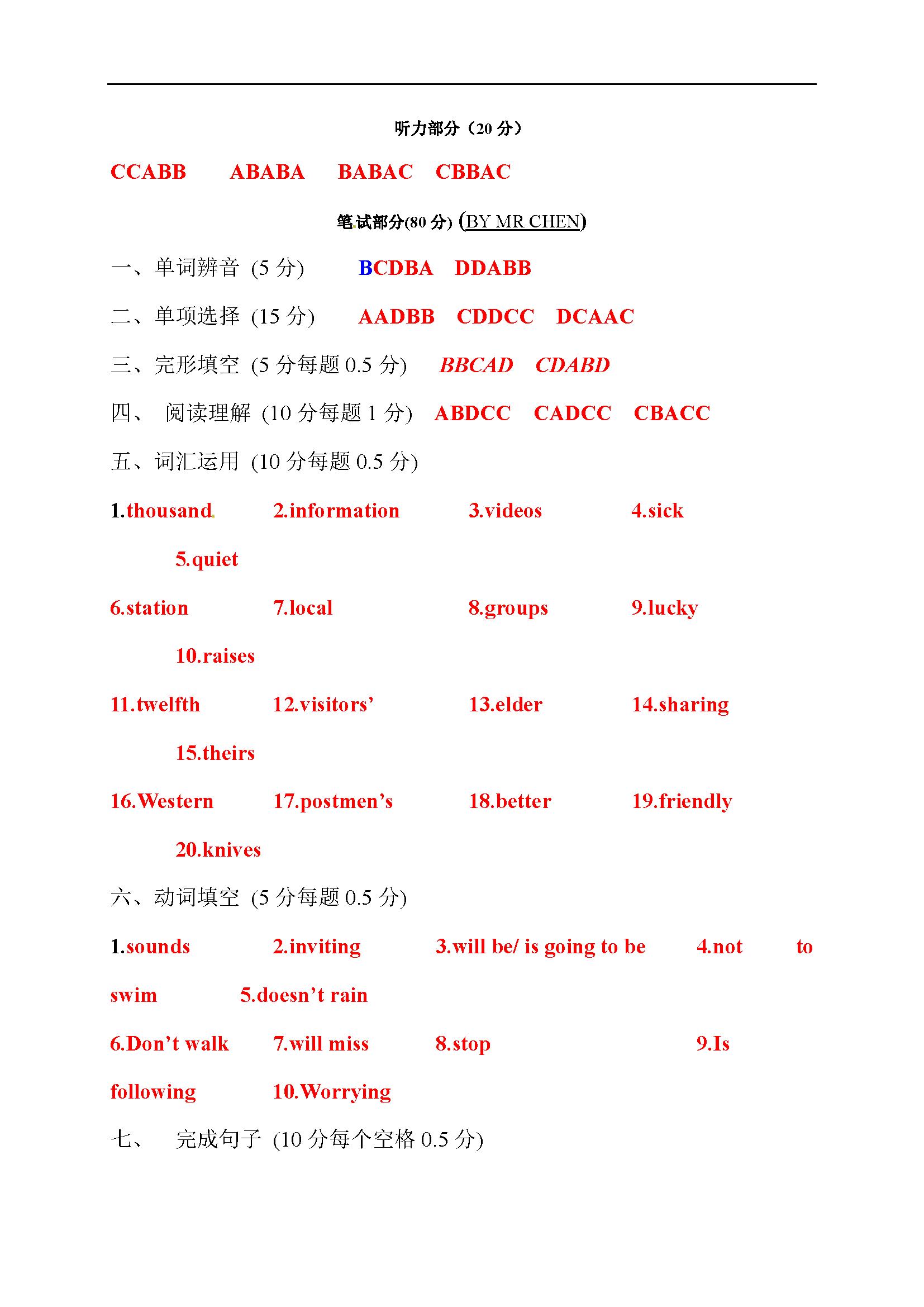 江苏无锡港下中学2016-2017七年级3月英语试题答案(图片版)