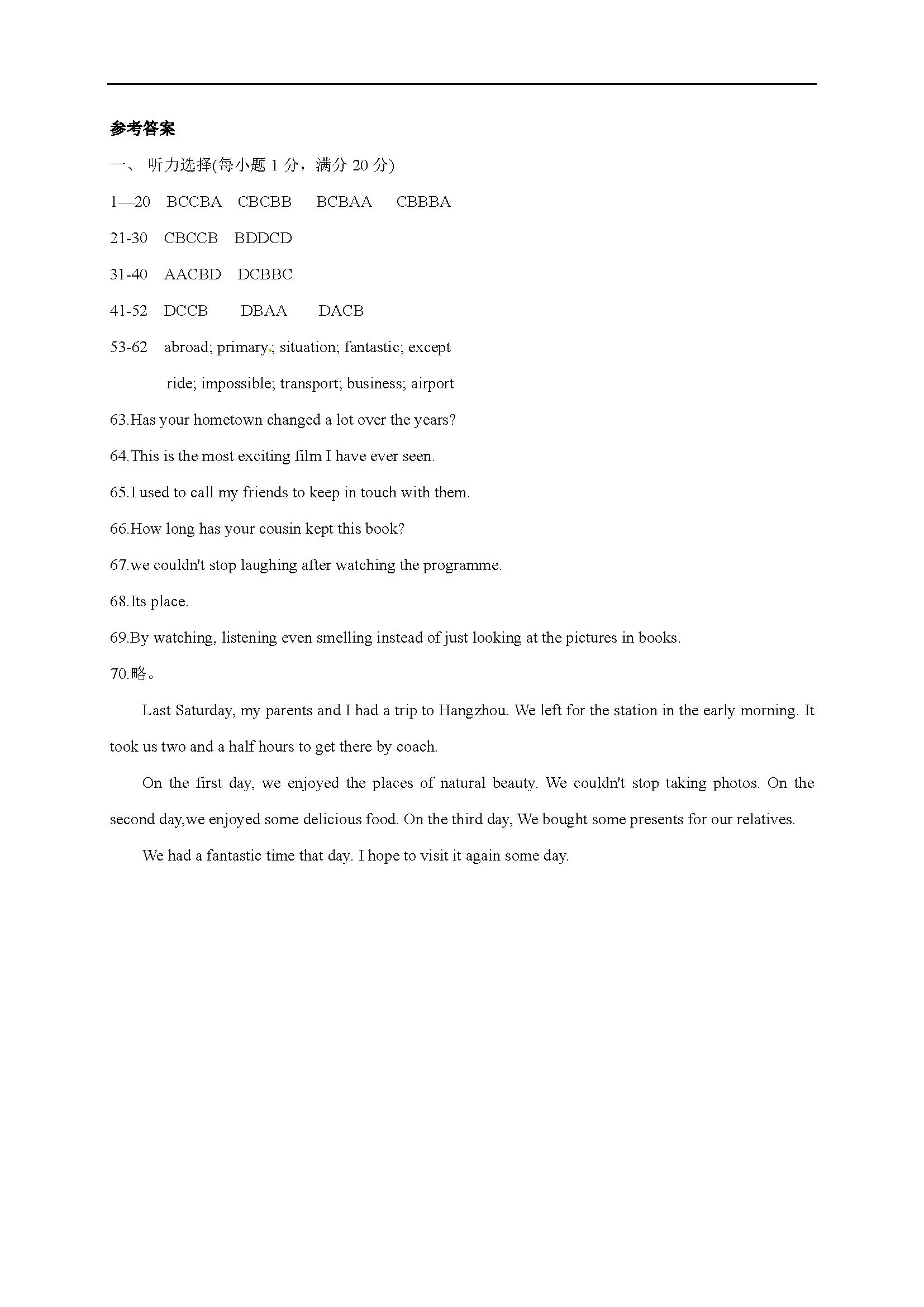 江苏苏州高新区第二中学2016-2017八年级下自主检测一英语试题答案(图片版)