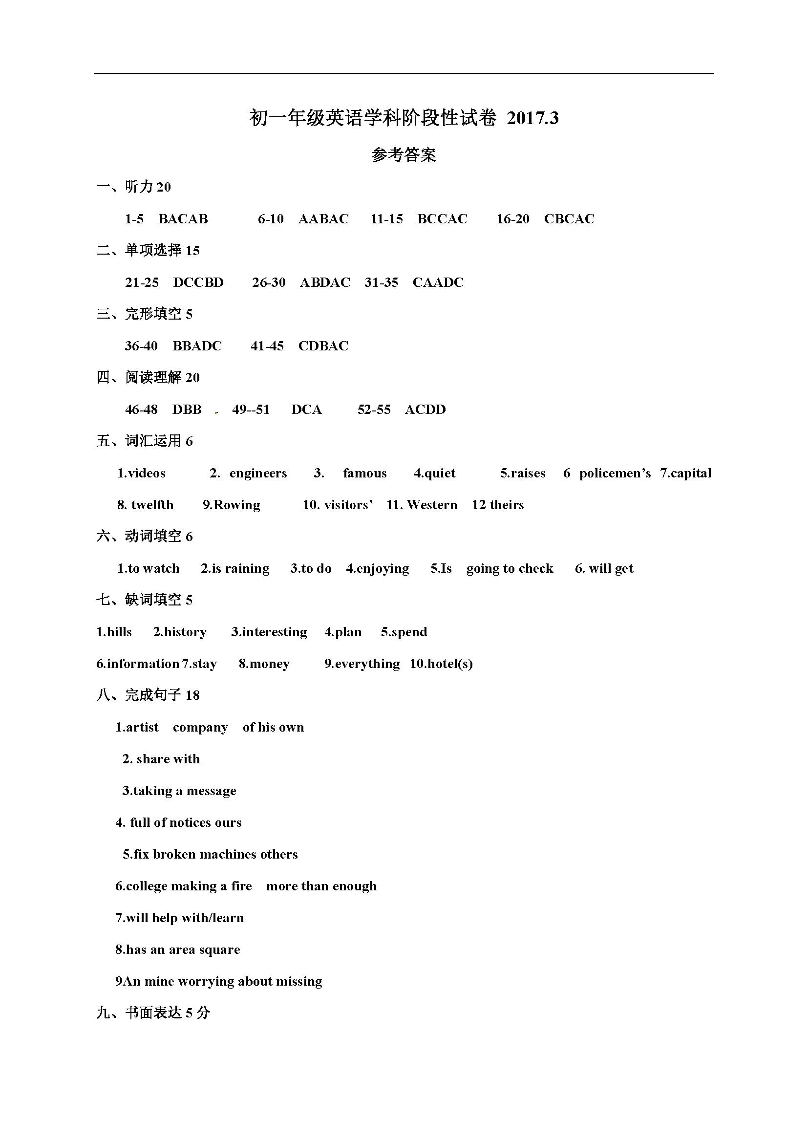 2017学江苏无锡石塘湾中学七年级3月份阶段性检测英语试题答案(图片版)