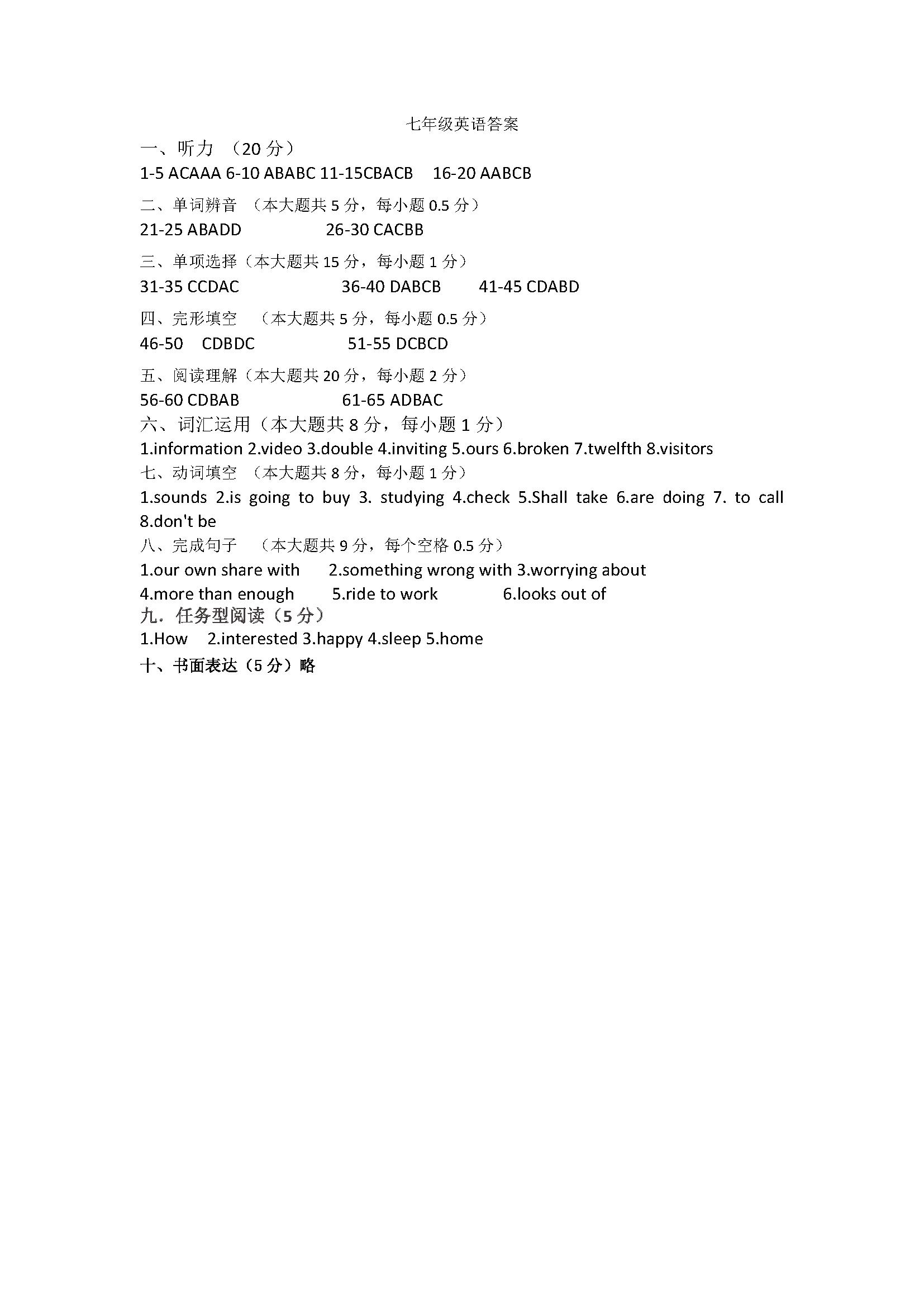 2017年江苏张家港第三中学7年级下英语1-3单元月考试卷答案(Word版)