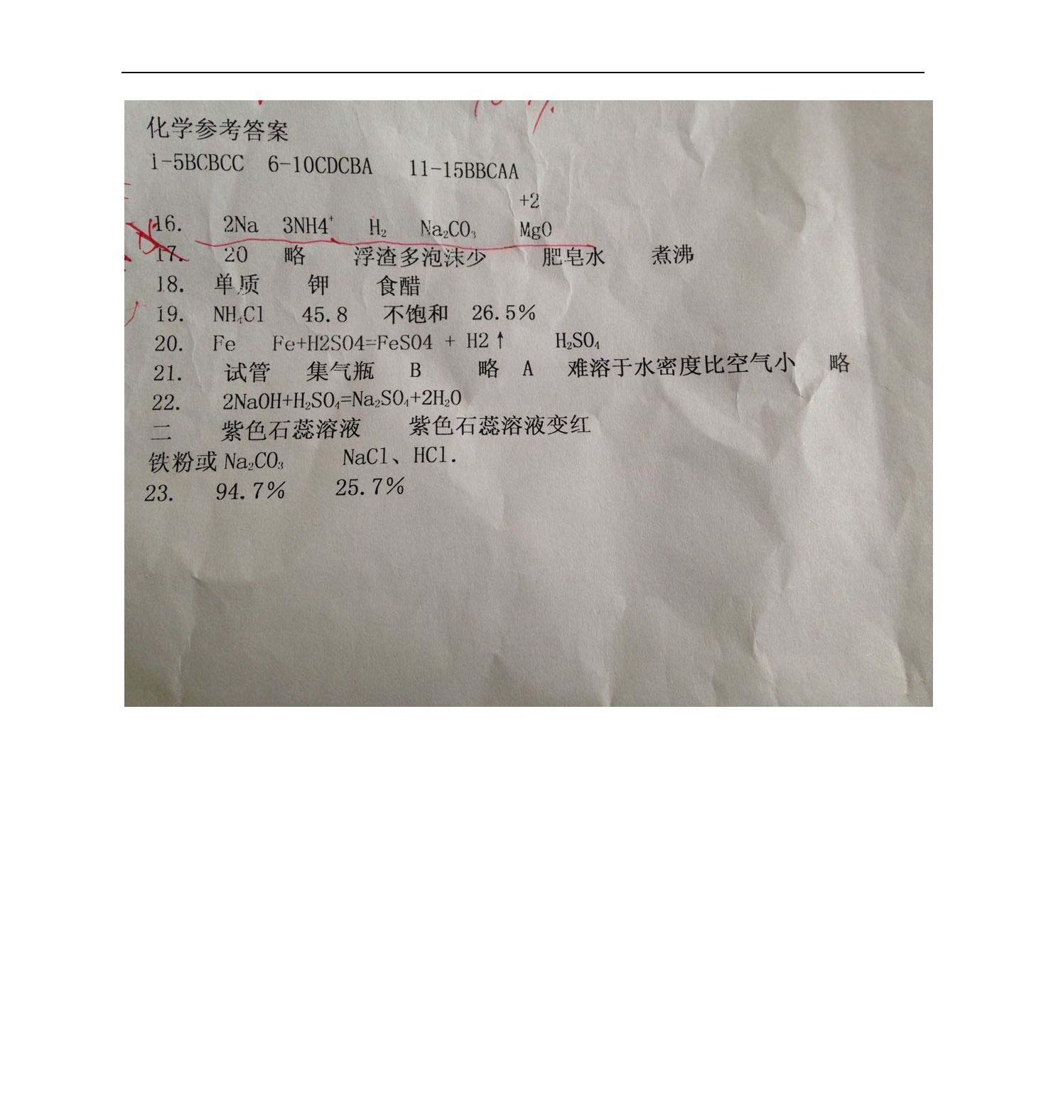 湖南娄底2017九年级3月月考化学试题答案(Word版)