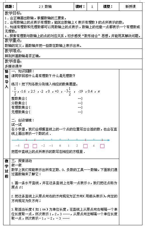 苏科版七年级上数学教案2.3数轴1