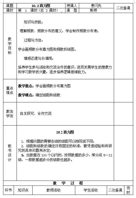 人教版七年级下数学教案10.2直方图(一)