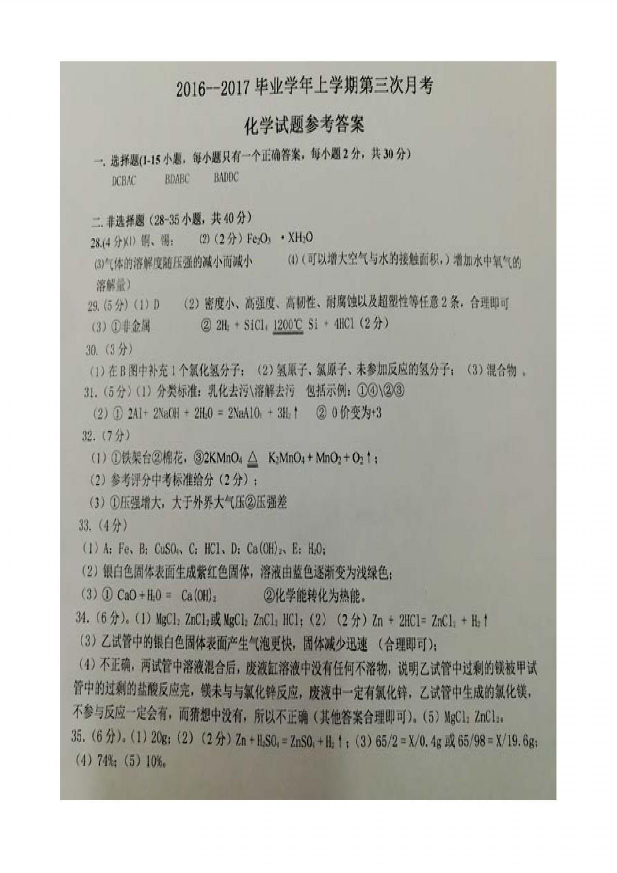 黑龙江哈尔滨双城区新兴中学2017九年级11月份化学试卷答案(图片版)