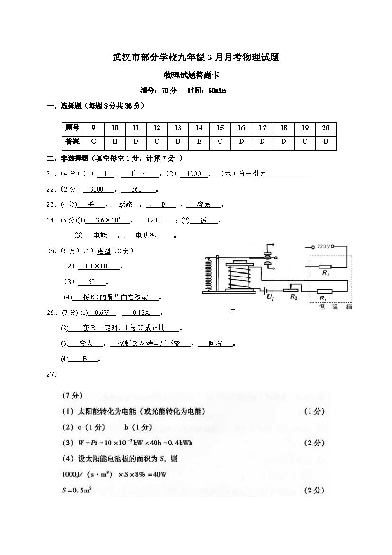 湖北武汉部分学校2017九年级3月月考物理试题答案(Word版)