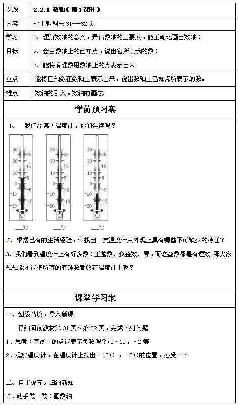 青岛版七年级上数学教案2.2.1数轴1