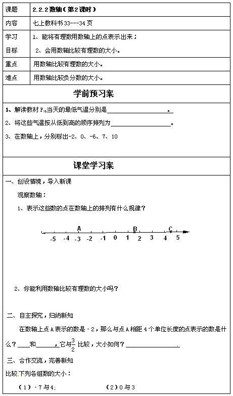 青岛版七年级上数学教案2.2.2数轴1