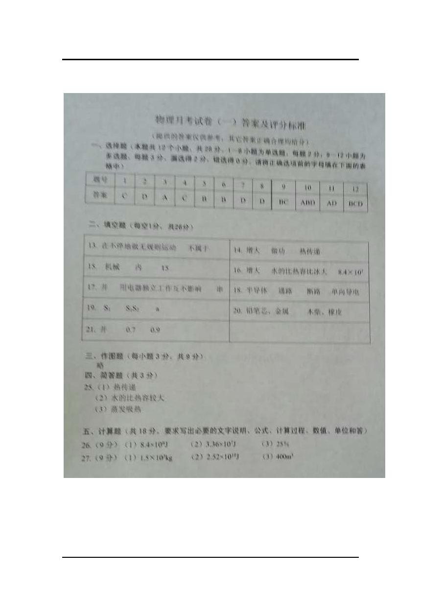 辽宁铁岭2017-2018联考中考调研物理月考试卷答案(Word版)