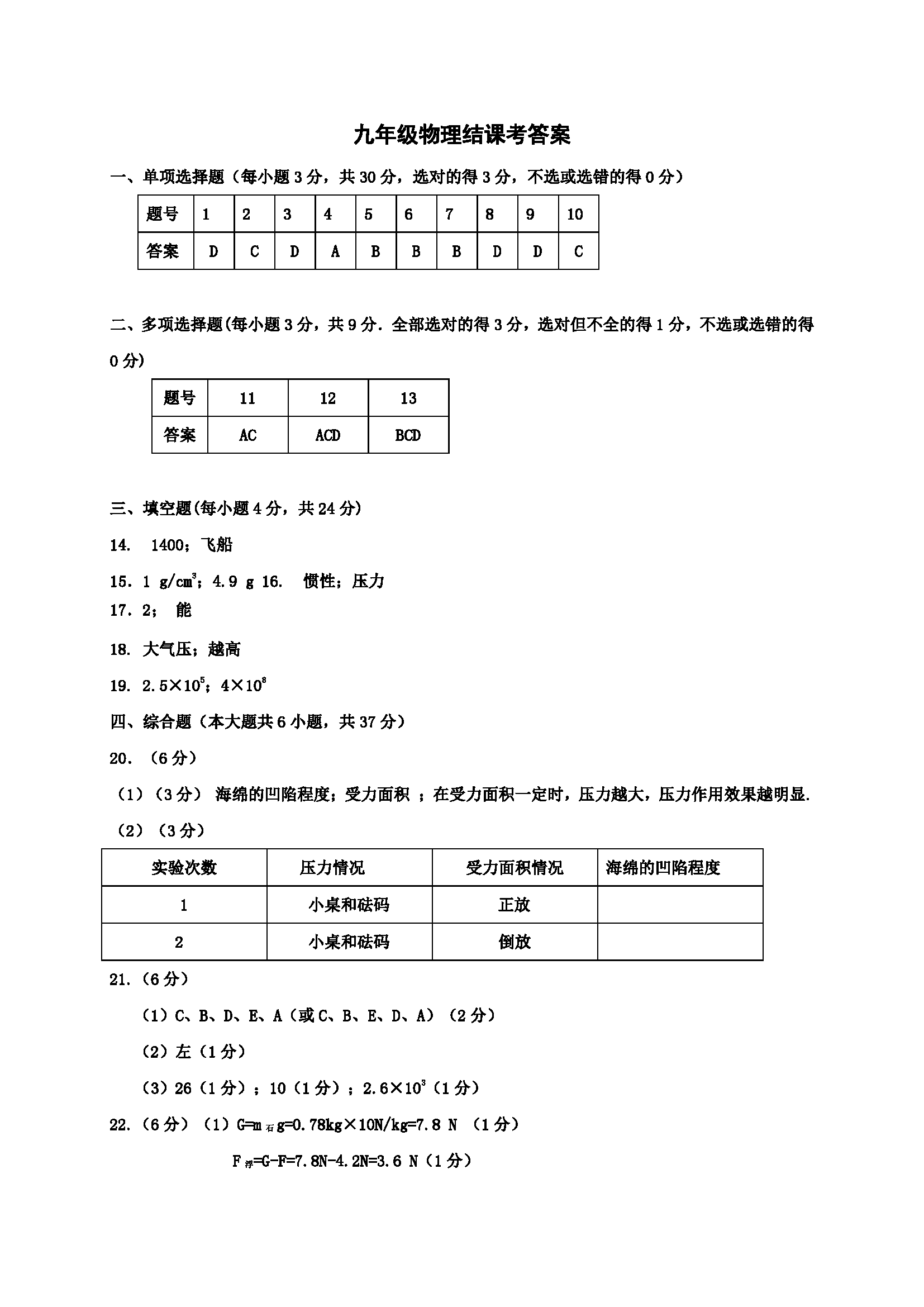 天津红桥2017九年级结课考质量检测物理试题答案(Word版)