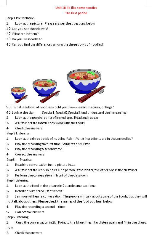 人教版七年级下英语教案Unit10Period2