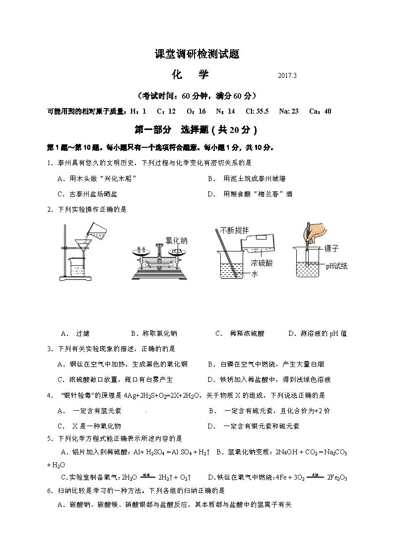 江苏泰州中学附属初级中学2017九年级下第一次月考化学试题(Word版)