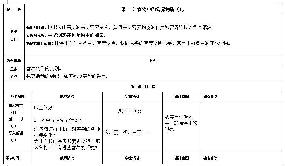人教版七年级下生物教案4.2.1食物中的营养物质(1)