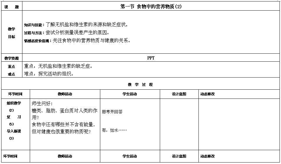 人教版七年级下生物教案4.2.1食物中的营养物质(2)