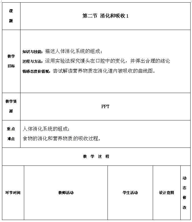 人教版七年级下生物教案4.2.2消化和吸收(1)