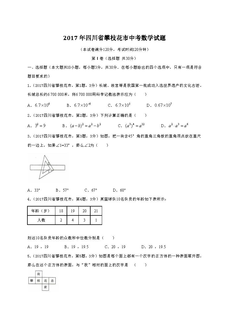 四川攀枝花2017年中考数学试题(Word版)